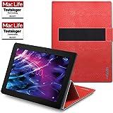 Hülle für Medion Lifetab P10603 Tasche Cover Hülle Bumper | in Rot Leder | Testsieger