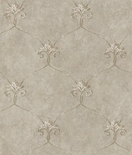 Chesapeake ARS26164 Tuscan Shimmering Ogee Wallpaper, Taupe
