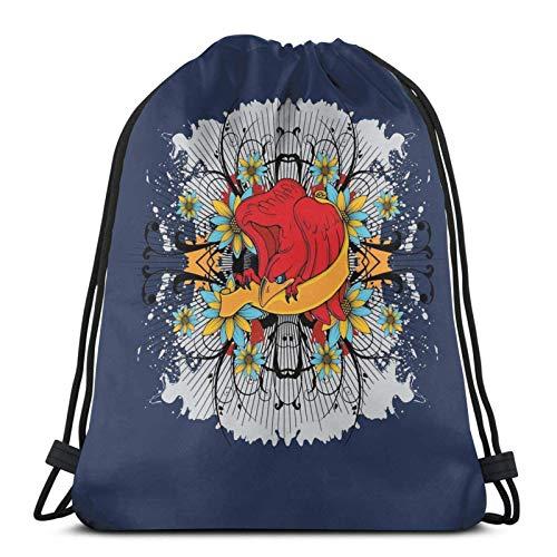 Almost-Okay-Shop Bolsa de viaje con diseño de flores azules y águila roja con cordón