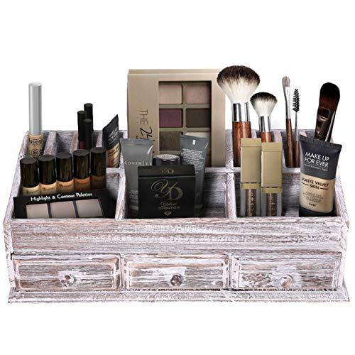Comfify Makeup Rustikaler Schreibtisch-Organizer aus Holz für Zuhause - Postfach für Schreibtisch, Tischplatte oder Theke - Schreibtischbedarf mit 3 Schubladen und 6 Fächern - Antikweiß