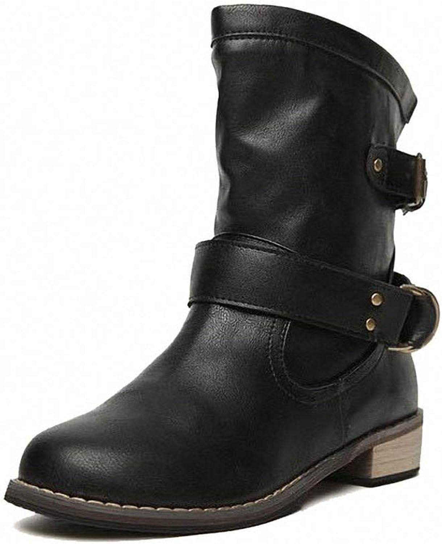 York Zhu Women Boots,Female Winter Mid Calf Bootie Western Cowboy Boot