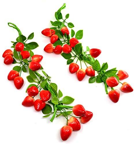 2er Pack Erdbeerschnur Künstlich Künstliche Kunststoffanlage Blumen für Wohnkultur Kunststoffpflanzen Blumen Erdbeere Erdbeeren