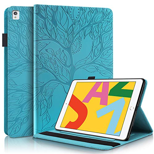 YKTO Case for iPad 10.2 PU Tablet Leather Smart Cover Embossed Tree Protective Case with Kickstand, Pencil Holder, Auto Wake/Sleep Wallet Card Slots for iPad Air 3 10.5 inch/iPad 10.2' - Mint Green