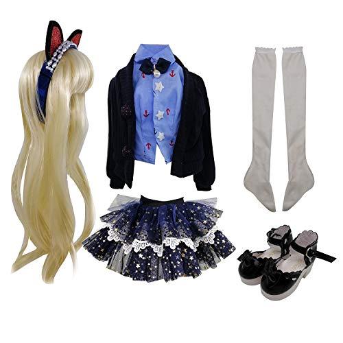 EVA BJD Conjunto de ropa de moda las pelucas Zapatos Calcetines Accesorios del sistema completo para 1/3 21-23inch 60cm muñecas BJD (Linda)