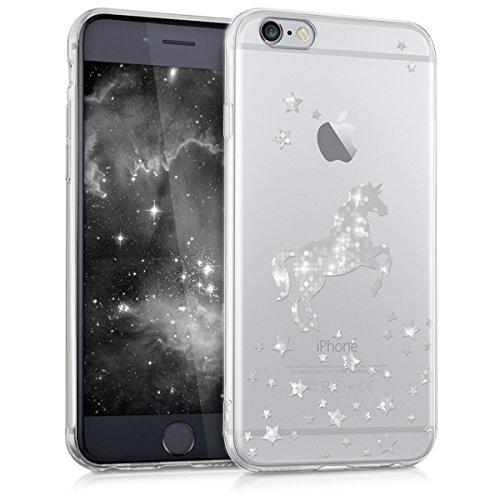kwmobile Hülle kompatibel mit Apple iPhone 6 / 6S - Handyhülle - Handy Case Einhorn Silber Transparent