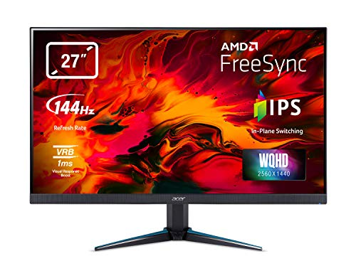 Acer Nitro VG270UPbmiipx 27 inch WQHD Gaming Monitor, (IPS Panel, FreeSync, 144Hz, 1ms, ZeroFrame, DP, HDMI, Speakers) Black