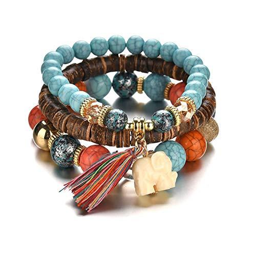 odegltina 3er Pack Schmuck Set Armband Perlen Yoga Armband Geburtstagsgeschenk Stretch Armband Damen Bohemian Accessoires für (Farbe)