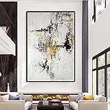 MKWDBBNM Arte de Gran tamaño Pintado a Mano Abstracto Dorado Beige Pintura al óleo sobre Lienzo Cuadro de Pared Arte Sala de Estar decoración del hogar | 70x100cm Sin Marco