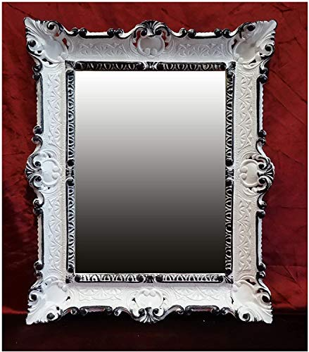 Lnxp Miroir mural 56 x 46 cm - Style baroque - Blanc et noir - Double couleur - Renaissance - Style baroque