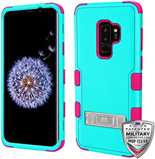 MyBat Samsung-Galaxy S9 Plus Natural Teal Green/Electric Pink TUFF Hybrid Phone Protector Cover with Stand