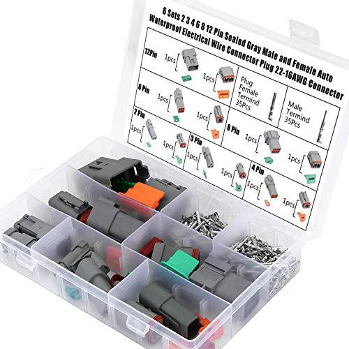 Hseamall DT-Anschluss-Set, 6 Sets DT 2 3 4 6 8 12-polig versiegelt, grau, männlich und weiblich, Auto-wasserfest, Kabelstecker, 22-16 AWG