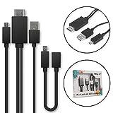 Cavo MHL Adattatore da Micro USB a HDMI 5 Pin + Adattatore da 11 Pin per Smartphone e Tablet da per Huawei, per Sony, per Samsung, per ZTE con Supporto MHL