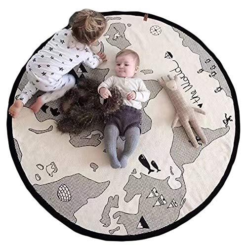 Spielmatte, Baby Runde Spielmatte mit Motiv Weltkarte weiche Leinen-Baumwolle Kinder Krabbelmatte, 135cm*135cm*2cm, grau