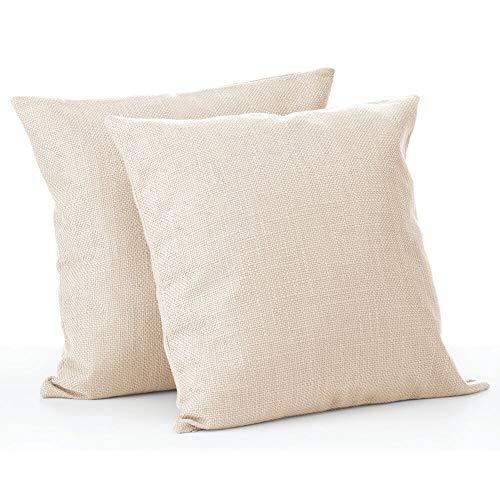 mDesign Juego de 2 fundas de cojín – Bonito forro para cojines decorativo de poliéster – Suaves fundas para cojines sin relleno – crema