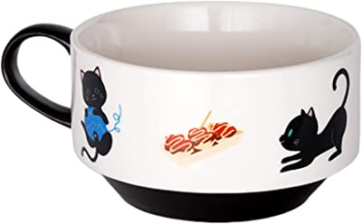 Stackable Mugs for Coffee and Tea, Black and White Ceramic Japanese Mug with Sushi Cat Design, Cute Oriental Kitchenware, 4 Inches