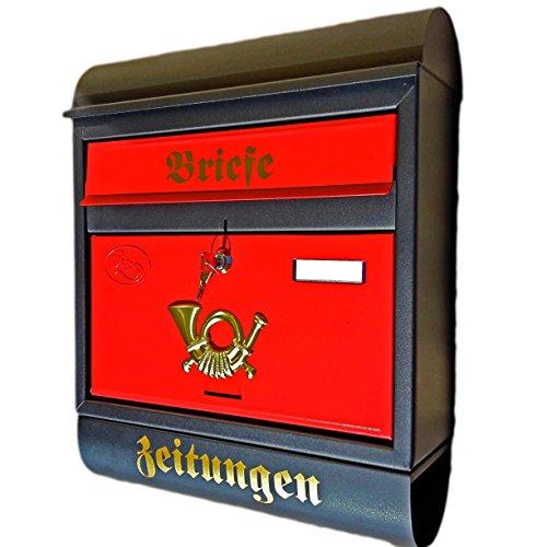 Eigenmarke Großer Briefkasten/Postkasten XXL Schwarz Matt/Rot mit Zeitungsrolle Zeitungsfach Runddach