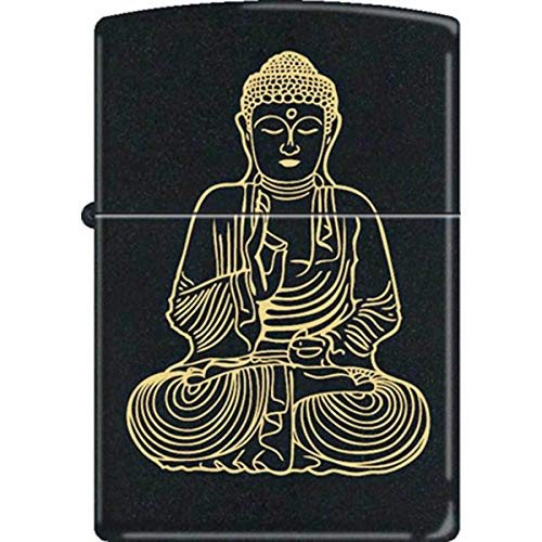 Traditional Budda Buddha'The Enlightened One' Black Matte Zippo Lighter