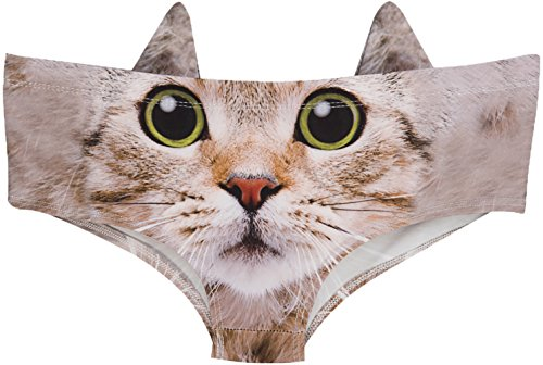Womens Underwear Funny Panties for Women, Gift Ideas for Her, Valentines Gifts, Cute Kitty, S