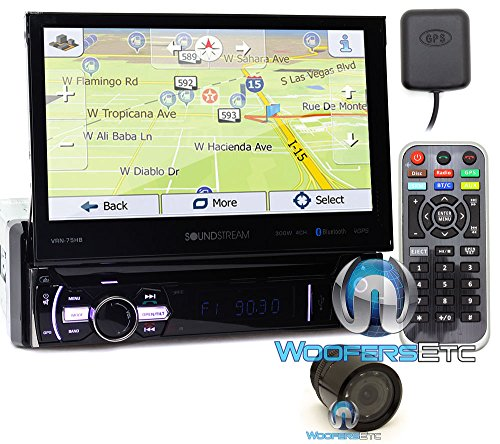 "pkg Soundstream VRN-75HB In-Dash 1-DIN 7"" DVD Receiver with Bluetooth, GPS Navigation and Android PhoneLink with XO Vision HTC 35 Backup Camera with Nightvision"