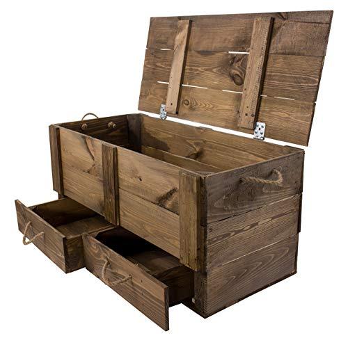 Moooble 1x Holztruhe mit Deckel + 2 Schubladen | 85,5x42x43,5 cm | stabile Spielzeugtruhe Holz als 'Schatzkiste' mit viel Platz | zum sitzen - 2