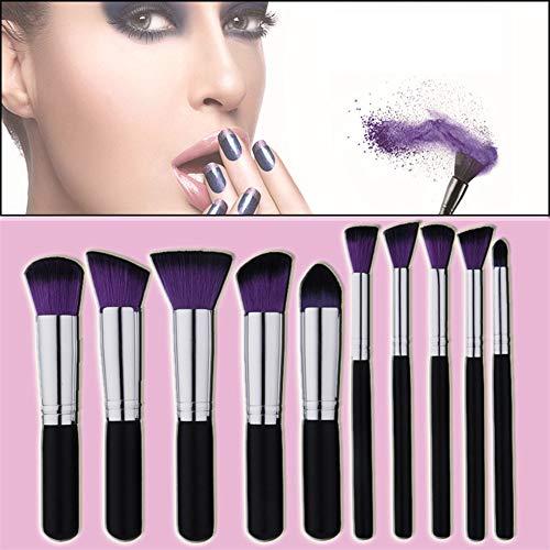 Skonis Kit De Pinceaux De Maquillage 10 Piece Professional Premium Synthetic Foundation Poudre Correcteur Ombres À Paupières Blush Cosmetic Brushes(Purple)