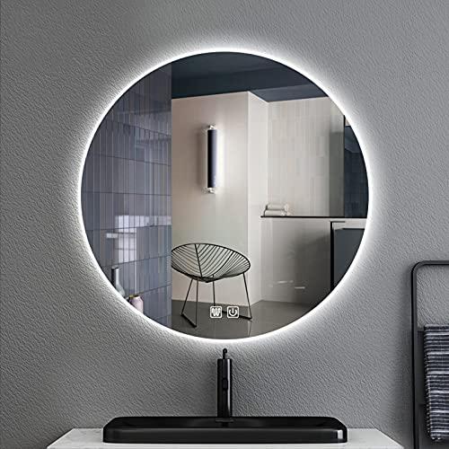 YZJJ LED Espejo de tocador de baño Espejo Redondo Espejo Circular antiniebla Montado en la Pared Espejo de Maquillaje Iluminado Regulable, Espejo de Maquillaje Iluminado con retroiluminación