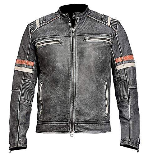 Men's Vintage Motorcycle Cafe Racer Retro Moto Distressed Leather Jacket | cafer Racer Jacket