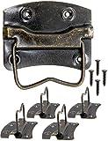 FUXXER - 4 mini tiradores plegables antiguos, para cajas, cómodas, diseño de bronce antiguo, 43 x 42 mm, juego de 4 unidades.