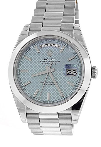 Rolex Daydate 40MM Platinum President 228206 Ice Blue Motif Dial & Smooth Bezel (Certified Pre-Owned