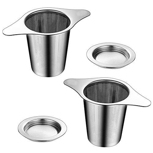 NEPAK 2 Stück Teesieb,Premium Sieb,304 Edelstahl Tee-Sieb für losen Tee Gewürzgewürze,für die Meisten Tee-Tassen und Tee-Schalen