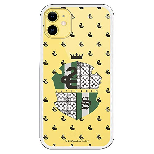 Funda para iPhone 11 Oficial de Harry Potter Slytherin Escudo Transparente para Proteger tu móvil. Carcasa para Apple de Silicona Flexible con Licencia Oficial de Harry Potter.