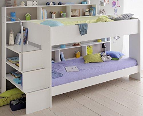 expendio Etagenbett, Hochbett Twin 22, 245x171x114cm weiß, Doppelstockbett Kinderbett