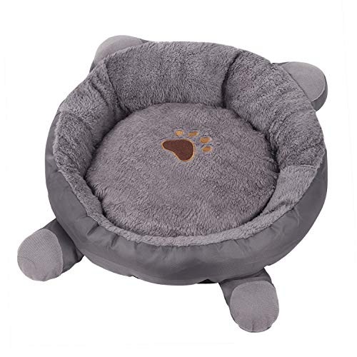 Small Dog Bed with Removable Washable Cover Cute Cartoon Ears Cuddler Pet Bed for Cats Small Dogs Padded Cushion Bed Anti-Slip Water-Resistant Bottom Soft Durable Pet Supplies Pet Sofa Kitten Bed