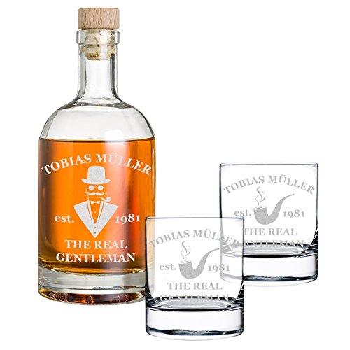 polar-effekt 3-TLG Geschenk-Set Personalisiert mit Gravur - Whiskyflasche und 2 Whiskygläser - Glas-Karaffe Inhalt: 700ml - Geschenkidee für Männer - Motiv a Gentleman