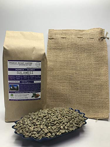 5 Pounds – Indonesian – Sulawesi – Unroasted Green Coffee Beans – Grown In Region Toraja – Altitude 3960-5980 Feet – Varietals Heirloom Arabica – Drying/Milling Process Is Washed - Includes Burlap Bag