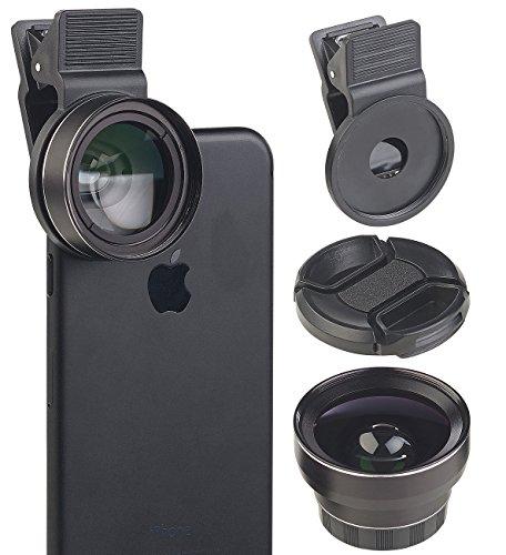 Somikon Weitwinkelobjektiv: 2in1-HD-Vorsatz-Linsen-Set mit Super-Weitwinkel & Makro, Premium-Glas (Weitwinkelvorsatz)