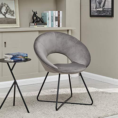 Duhome Silla de Comedor diseño Retro con Brazos Silla tapizada Vintage sillón con Patas de Metallo 439D, Color:Gris, Material:Terciopelo