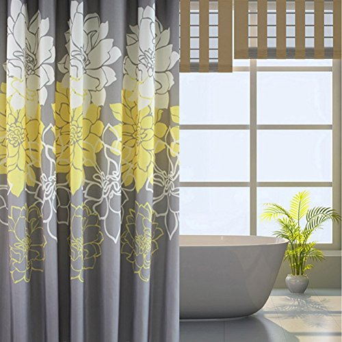 Sfoothome Gray Background and Flower Pattern, Waterproof Washable Printed Polyester Fabric Shower Curtain for Bathroom (Yellow 60Inch72Inch)