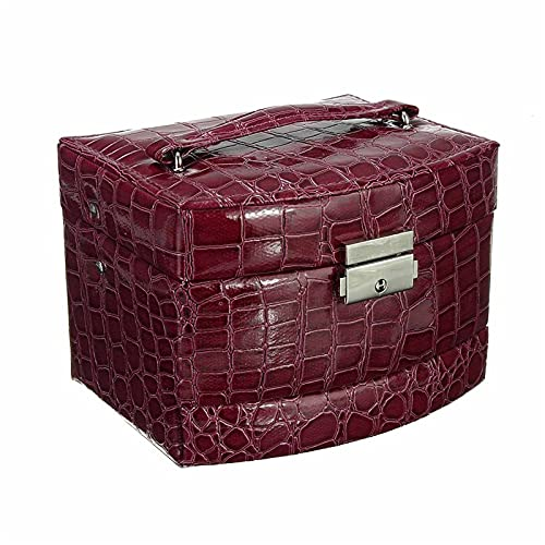 HYMD Joyero Caja de joyería de Cuero de Alta Gama, Caja de Almacenamiento de Doble Pendiente con cajón, Caja de Anillas (Color : Purple)