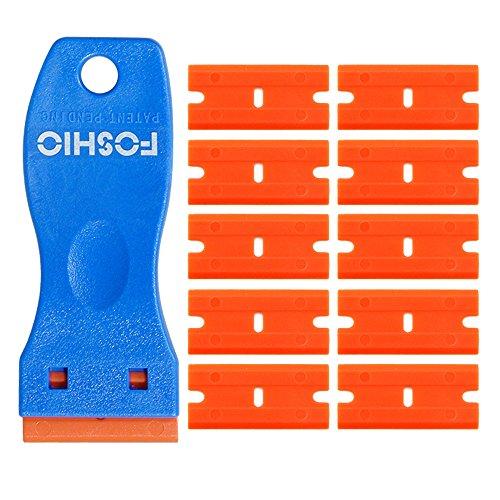 FOSHIO 1.5 Inch Plastic Razors Adhesive Sticker Remover Scraper with 10pcs Safety Plastic Razor Scraper Blades for Removing Labels, Films, Stickers and Decals