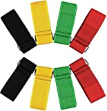 ZXSWEET 8Pcs 3-Legged Race Bands Elastic Tie Rope Strap Band with 4 Assorted Colors Perfect for Relay Race Game, Carnival, Field Day, Backyard