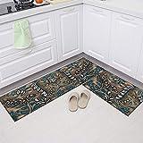 Europäischer Stil Zweiteiliges Set Küchenmatte Eingangsmatte Home Wohnzimmer Dekoration Matten Bad Anti-Rutsch-Teppiche A5 50x80cm