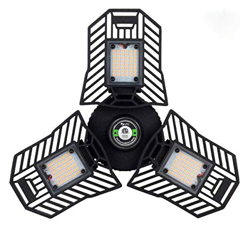 Tanbaby LED Garage Light, Three Leaf Garage Light, Black Garage Light, LED Garage Ceiling Lights Bright Garage Light 60W Garage Lights Deformable LED Garage Light for Garage, Working Light