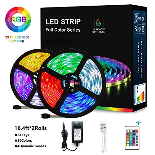 LED Strip Lights, 32.8ft RGB 5050LEDs Color Changing Full Kit with 24key Remote Control and Power Supply Mood Lamp for Living Room Bedroom Kitchen Home Decorations