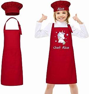 LAOKEAI Personnalisé de Enfant Tablier et Chapeau de Chef Set, Tabliers de Cuisine des Enfants Ajustable Tablier de Chef a...
