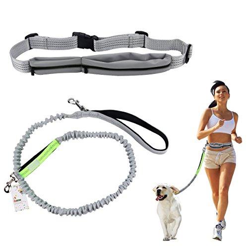 Cadrim Hunde Joggingleine mit verstellbarem Hüftgurt Bungee Leine zum handfreien Laufen/Fahrrad Fahren (Grau) (grau-neu)