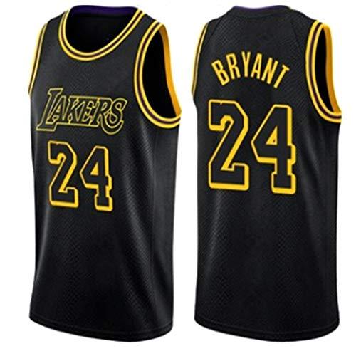 Dybory Bryant Lebron Los Angeles Lakers 24# Camiseta de Baloncesto para Hombres Adultos, Camisetas de Kobe Bryant Edición Conmemorativa de Mamba Negra Bordada Transpirable,Negro,XXL