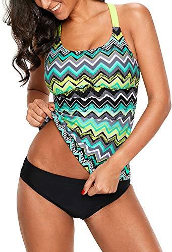 Cassiecy Damen Tankini Badeanzug mit Oberteile und Badeshorts Zwei Teilig Bademode Beachwear