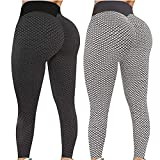2Pcs Women's High Waist Yoga Pants Booty Lifting TIK Tok Leggings Butt Lift Leggings Workout Tummy Control Yoga Scrunch Tights (M, 05)