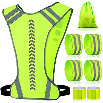 Reflective Running Vest Gear and 6 Pieces Reflective Bands for Arm Wrist Leg, Adjustable Safety Vests Good Visibility Wristbands Straps Belt Storage Bag for Night Cycling Walking Running Jogging
